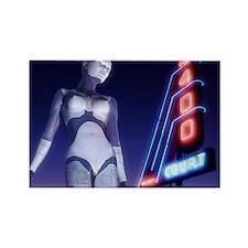 Female Robot Rectangle Magnet