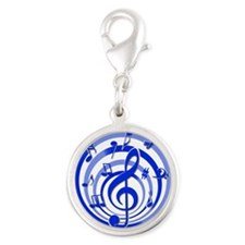 Stylish Blue musical notes on circle design Charms