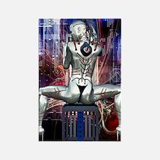 Cyber Girl Rectangle Magnet