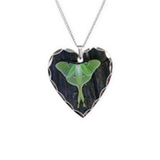 Luna Moth Necklace Heart Charm
