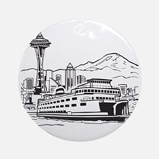 Space Needle and Ferry Round Ornament