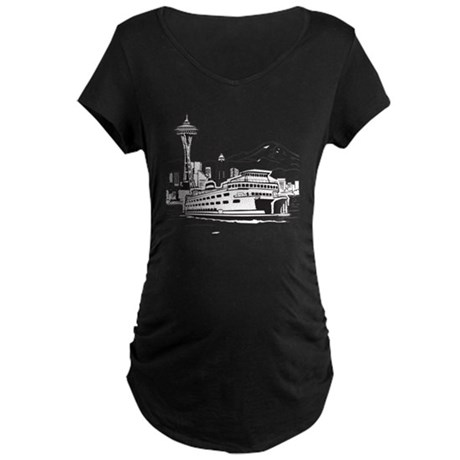 Space Needle and Ferry Maternity Dark T-Shirt