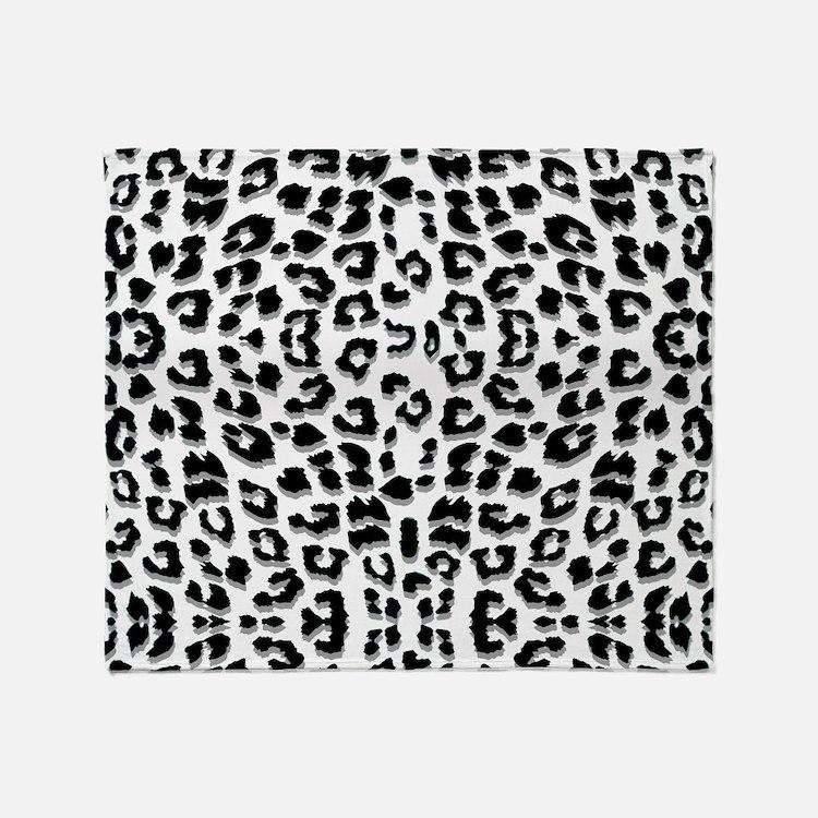 Snow Leopard Print Throw Blanket