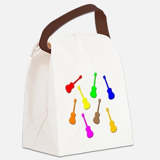 rainbow ukulele Canvas Lunch Bag