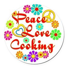 Peace Love Cooking Round Car Magnet