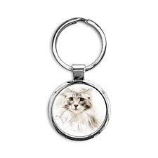 Norwegian Forest Cat Round Keychain