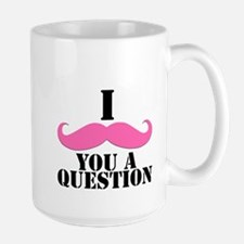 I Mustache You A Questions   Pink Mustache Mug