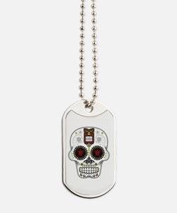 CANDY SKULL-Hawiian Shirt-ghost outline Dog Tags