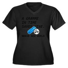 Brave New Wo Women's Plus Size Dark V-Neck T-Shirt