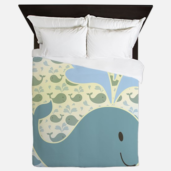 Cute Whale With Pattern Queen Duvet