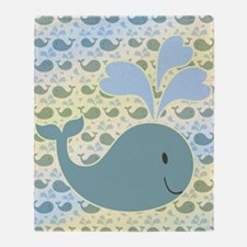 Cute Whale With Pattern Throw Blanket
