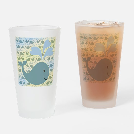 Cute Whale With Pattern Drinking Glass