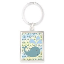 Cute Whale With Pattern Portrait Keychain