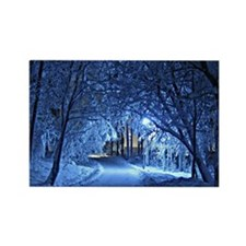 Snowy Winter Night Rectangle Magnet