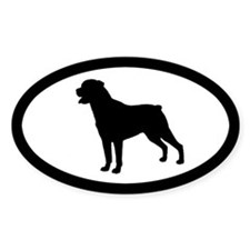 Rottie Silhouette Oval Decal