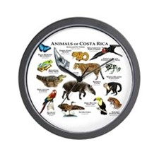 Costa Rica Animals Wall Clock