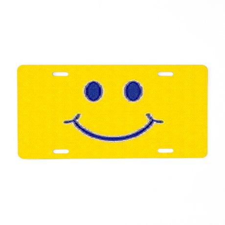 Happy Smile Aluminum License Plate