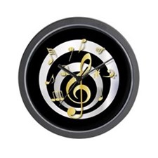 Stylish Gold and silver musical Clef Wall Clock