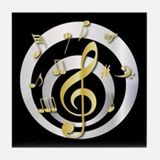 Stylish Gold and silver musical Clef Tile Coaster