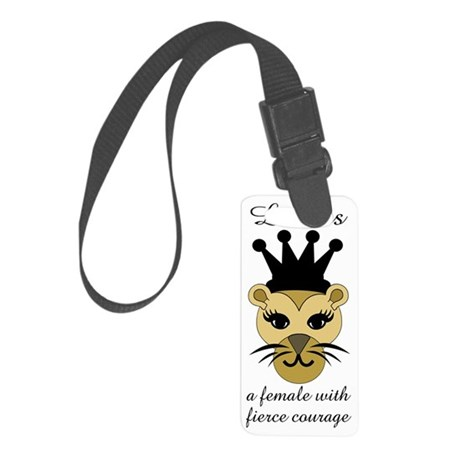 Lioness: a female with fierce c Small Luggage Tag