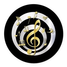 Stylish Gold and silver musical Clef Round Car Mag