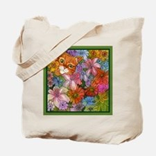 Cat Among the Flowers Tote Bag