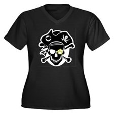 Black Captai Women's Plus Size Dark V-Neck T-Shirt