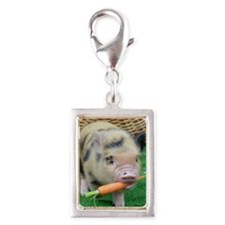 Micro pig with carrot Silver Portrait Charm