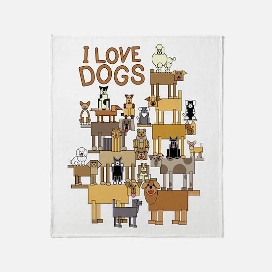 I LOVE DOGS Throw Blanket