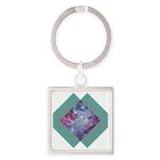 Hipster Navajo Galaxy Square Keychain