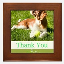 Thank You With Cavalier Puppy In Grass Framed Tile