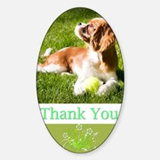 Thank You With Cavalier Puppy In Gr Decal