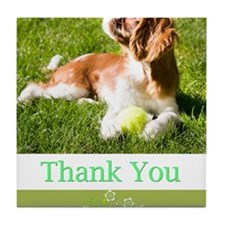Thank You With Cavalier Puppy In Gras Tile Coaster