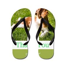 Thank You With Cavalier Puppy In Grass Flip Flops
