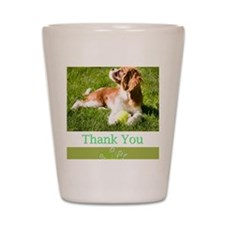 Thank You With Cavalier Puppy In Grass Shot Glass