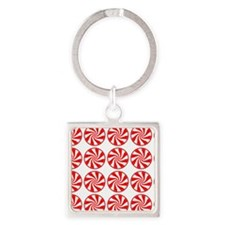 Peppermint Pattern Square Keychain