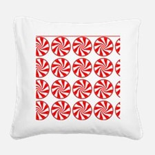 Peppermint Pattern Square Canvas Pillow