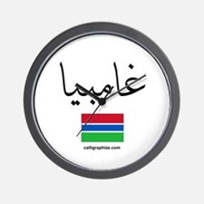 Gambia Flag Arabic Wall Clock