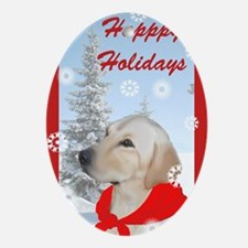 Yellow Lab Christmas Oval Ornament