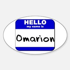 hello my name is omarion Oval Decal