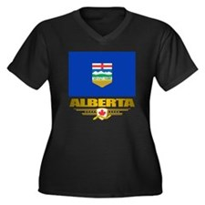 Alberta Flag Women's Plus Size Dark V-Neck T-Shirt