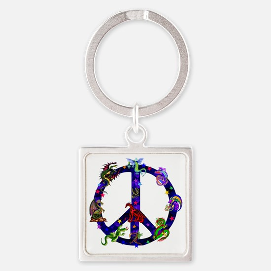 Dragon Peace Sign Square Keychain