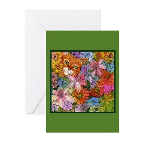 Cat Among the Flowers Greeting Cards (Pk of 10