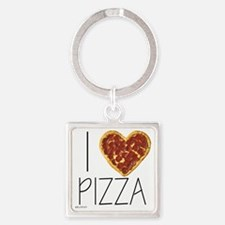 i love pizza Square Keychain