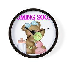 COMING SOON WITH TEDDY BEAR Wall Clock