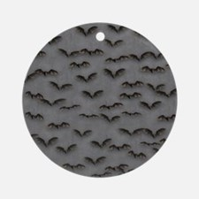 Bats on Gray Flip Flops Round Ornament