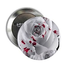 """Bloody White Roses 2.25"""" Button"""