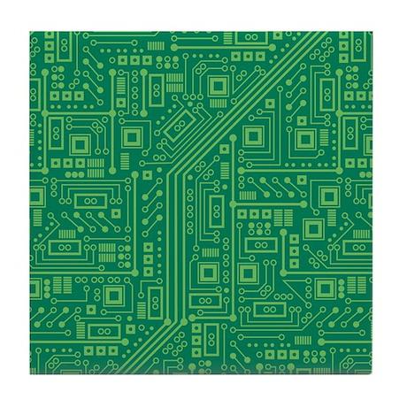 Green Circuit Board Tile Coaster