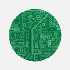 "Green Circuit Board 3.5"" Button"