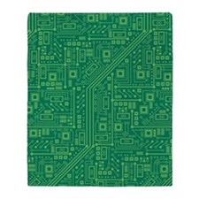 Green Circuit Board Throw Blanket